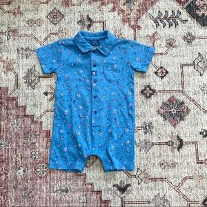 Vintage early 2000s blue collared baby boy romper